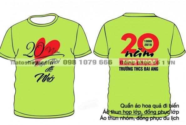 Áo phông họp lớp kỷ niệm 20 năm màu xanh