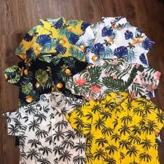 Sỉ bộ đồ đi biển, áo sơ mi hawaii trái cây, hoa lá
