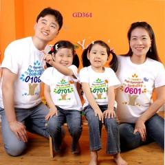 Áo gia đình mầu trắng in hình ngộ nghĩnh