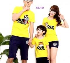 Áo gia đình màu vàng đáng yêu