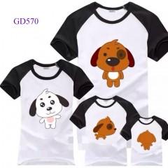 Áo gia đình tay đen-trắng in hình cún con