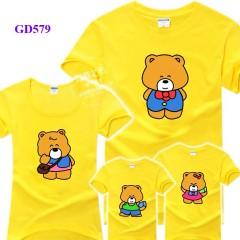 Áo thun gia đình mầu vàng hình gấu