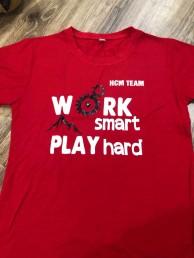 Áo nhóm màu đỏ work smart play hard