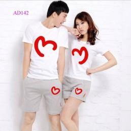 Áo đôi màu trắng 2 nửa trái tim