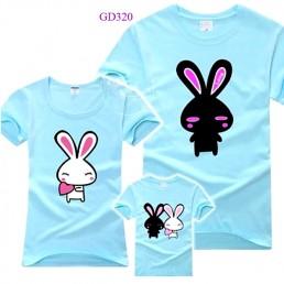 Áo gia đình - Hình con thỏ xanh ngọc