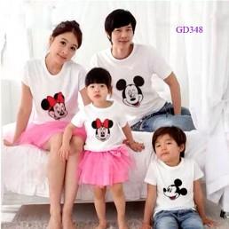 Áo gia đình hình chuột màu trắng