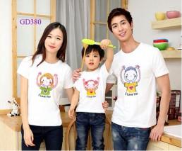 Bộ áo gia đình mầu trắng -GD380