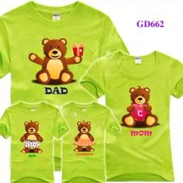 Áo gia đình mầu xanh cốm in hình gấu