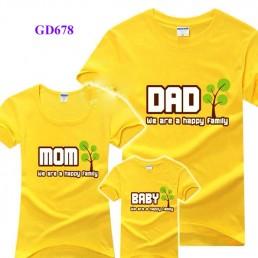 Áo gia đình mầu vàng (Dad, Mom, Baby, Girl)
