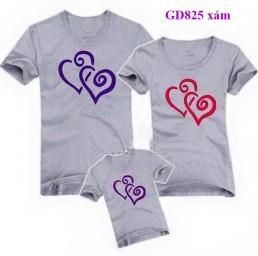 Đồng phục áo gia đình in hình trái tim