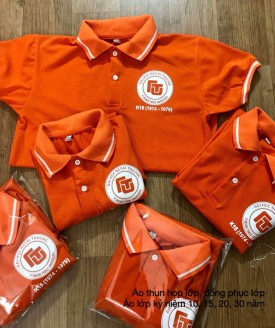 Đặt in áo họp lớp có cổ màu cam