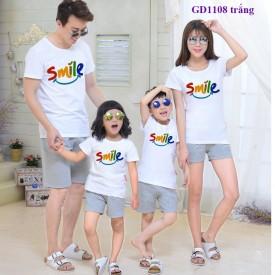 Áo đồng phục gia đình trắng-SMILE